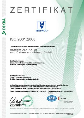 Zertifikat ISO 9001-2008 Chemnitz